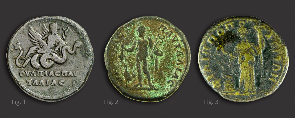 Fig. 1 Bronze coin of Pautalia struck under Septimius Severus with Asklepios on winged serpent on reverse © Lutz-Jürgen Lübke | Fig. 2 Bronze coin of Pautalia struck under Caracalla with Hermes on reverse (fig.2) © Lily Grozdanova | Fig. 3 Bronze coin of Philippopolis struck under Septimius Severus with Demeter on reverse (fig.3) © Lily Grozdanova