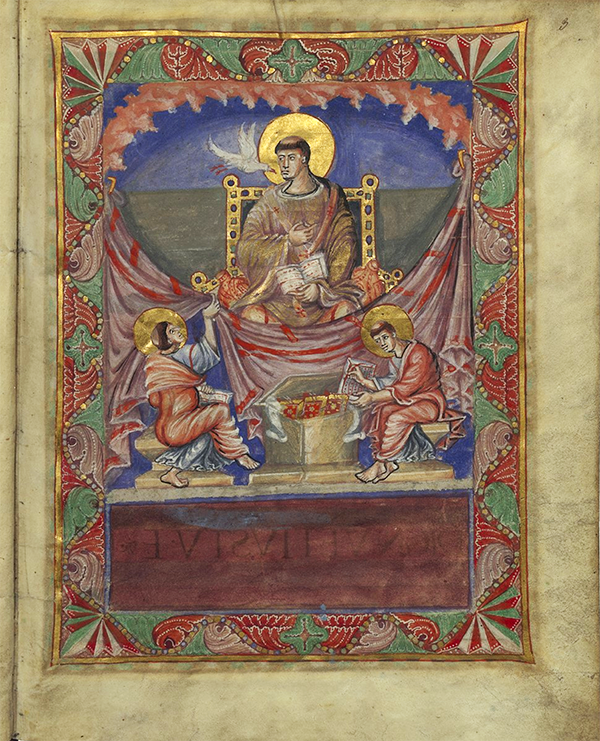 Illuminated manuscript. Pope Gregory I (Folio 3 recto) shown on the Sacramentary of Charlemagne, Public Domain