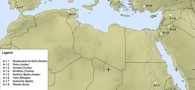 Map of study sites throughout the  Mediterranean and northeastern Africa
